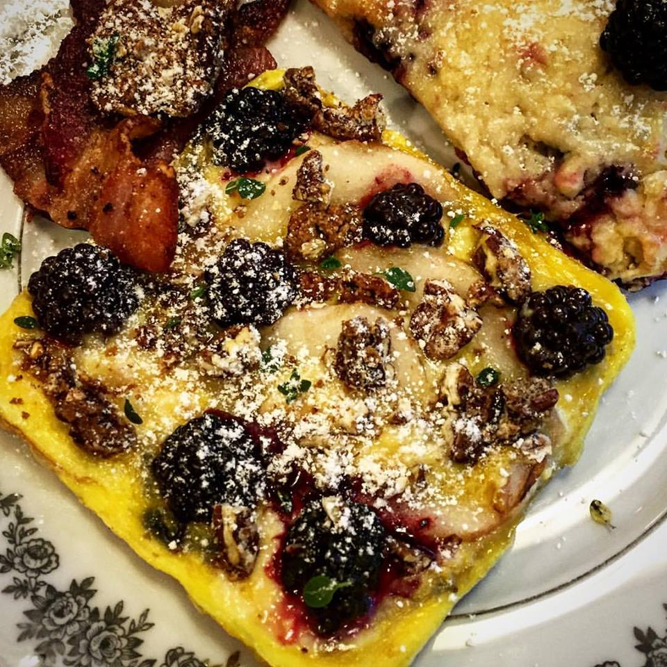 Pear Blackberry Pecan omelette