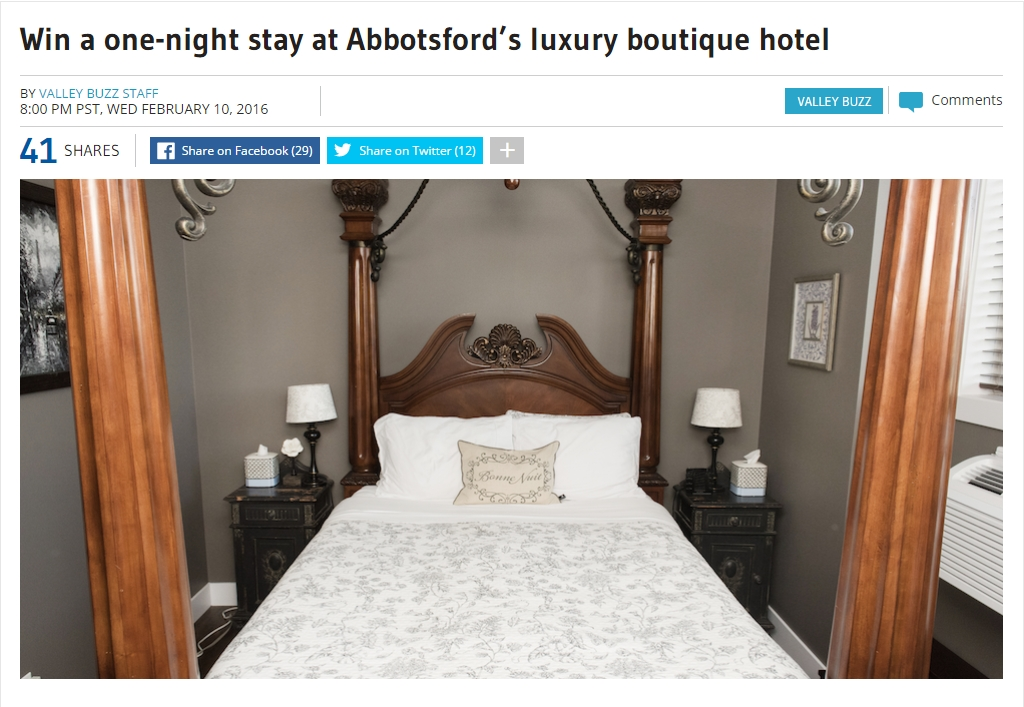 Win a one-night stay at Abbotsford's luxury boutique hotel  Vancity Buzz